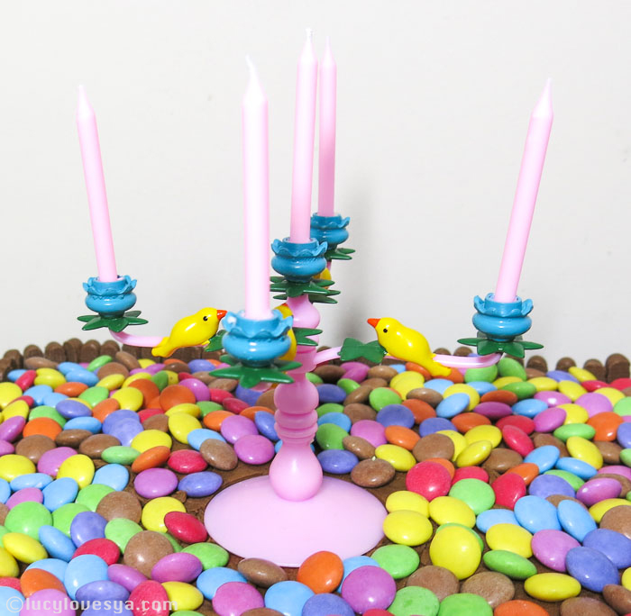 Smarties and Choc fingers cake