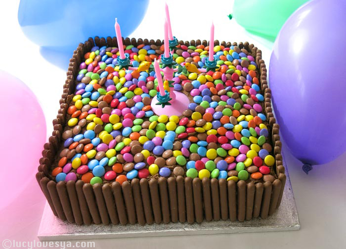 Smarties and Choc fingers cake!