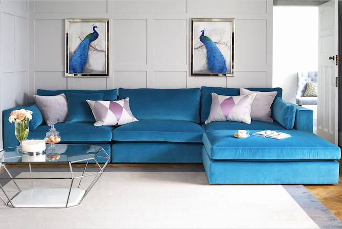 Sweetpea & Willow Lansdown 3 seater sofa in Azure velvet from £3290, Eicholtz Asscher nickel coffee table £1495 (4)