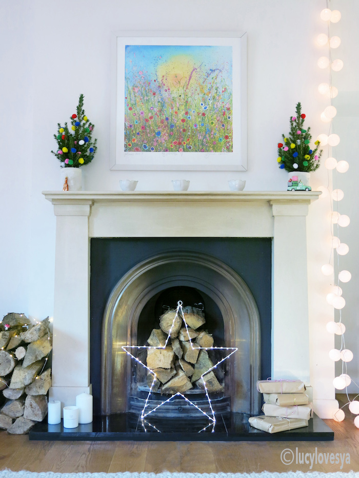 christmas-fireplace mini christmas trees ideas home inspiration