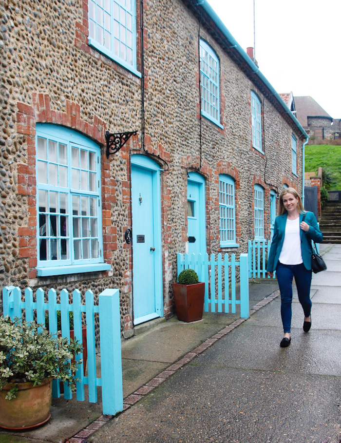 Boden jacket and jeans blue houses Aldeburgh travel