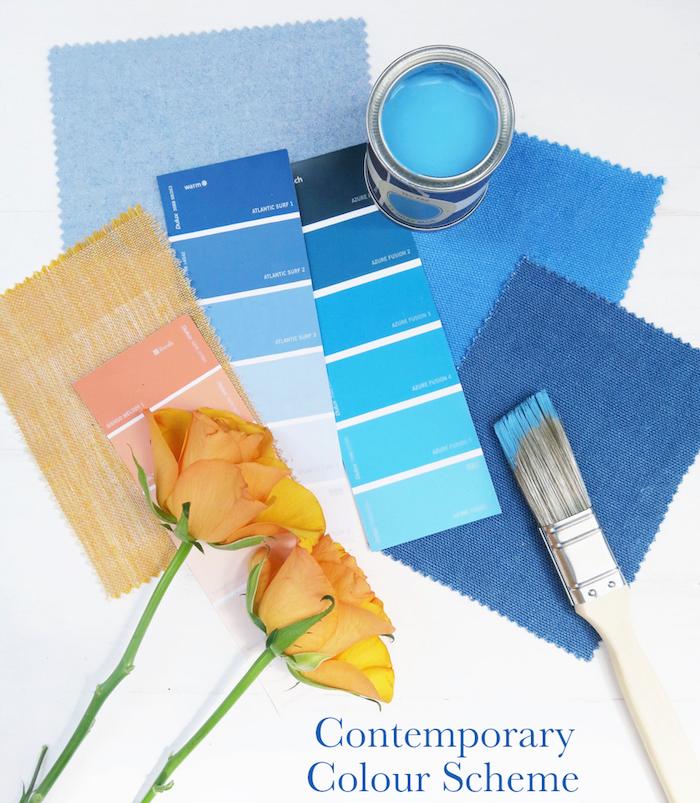 contemporary colour scheme Interior Design Blue Orange