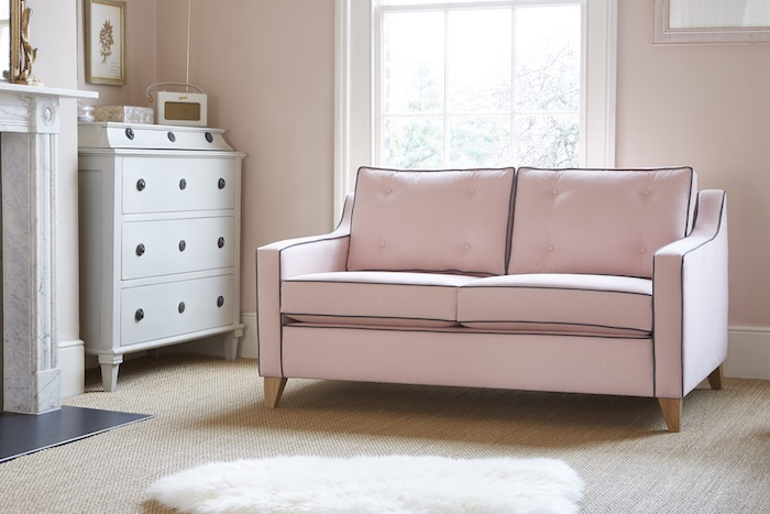 pink retro sofa chair tasteful trendy light classy stylish