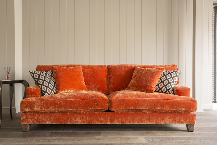warm orange cosy crushed velvet