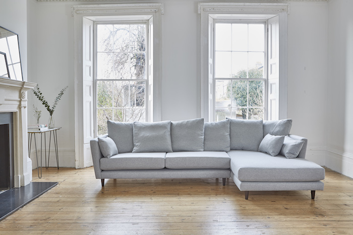 L shaped sofa grey comfy large living room corner lazing restful