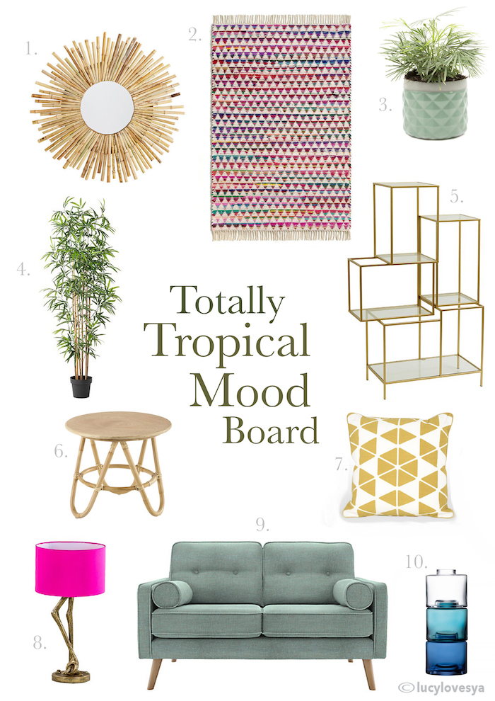 mood board sofa rug tropical bold room