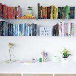 bookcase shelves retro desk