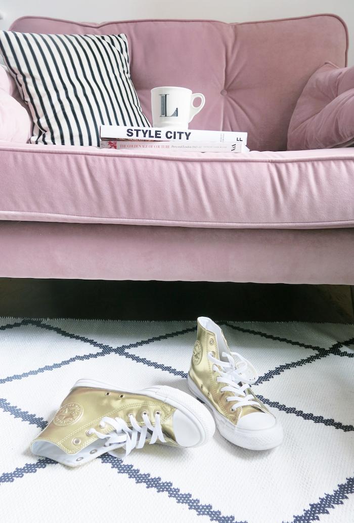 pink sofa dfs zinc living room cosy velvet
