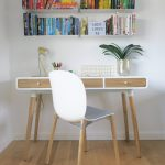 Grey white scandi office chair wooden legs