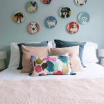 Plates Gallery Wall Blue Bedroom Cushions Cosy Scandi