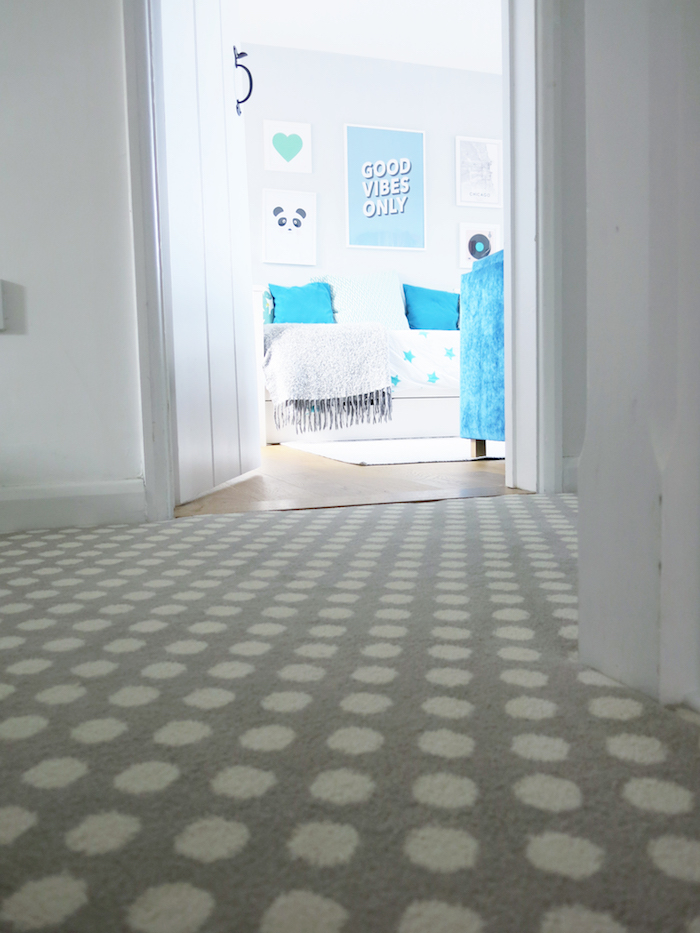Spot Pebble Grey Spotty Carpet Runner Soft Cosy