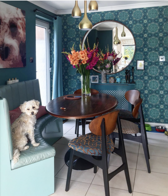 Kate Lovejoy Interiors Blue Kitchen Dining Cosy Space