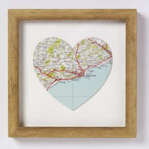 decoupage heart map