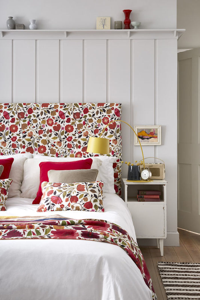 colourful headboard red orange floral