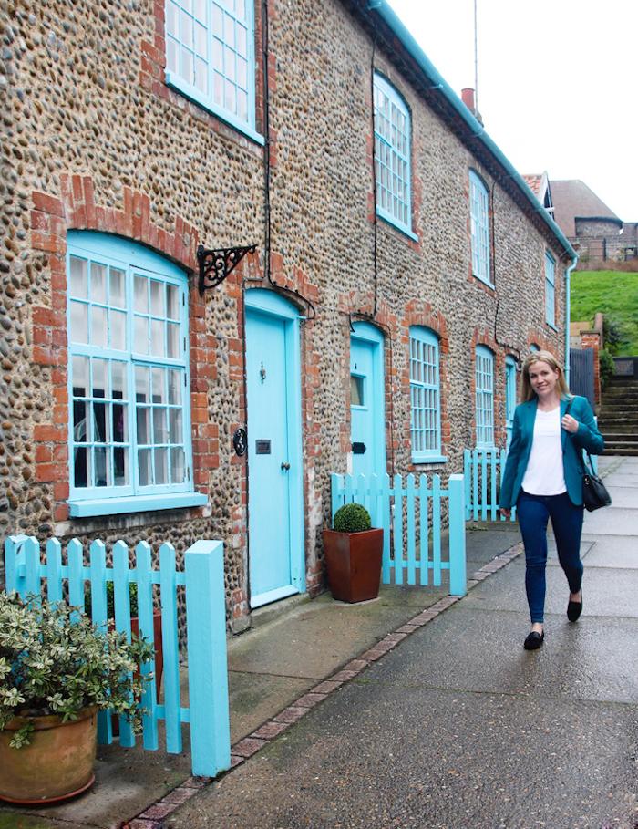 Boden jacket and jeans blue houses Aldeburgh travel