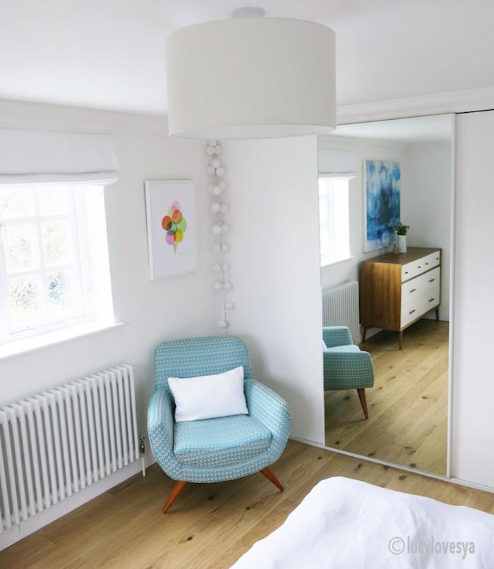 White blue bedroom