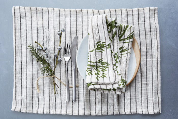 Striped linen tableware retro