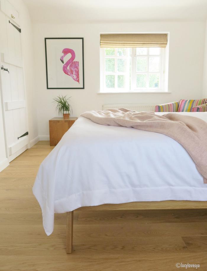Flamingo Print Wooden Floor Cosy bedroom White inspiration