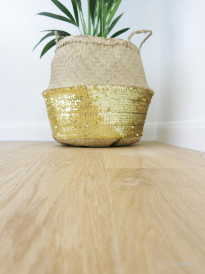 Sequin Basket Bag Wooden Floor