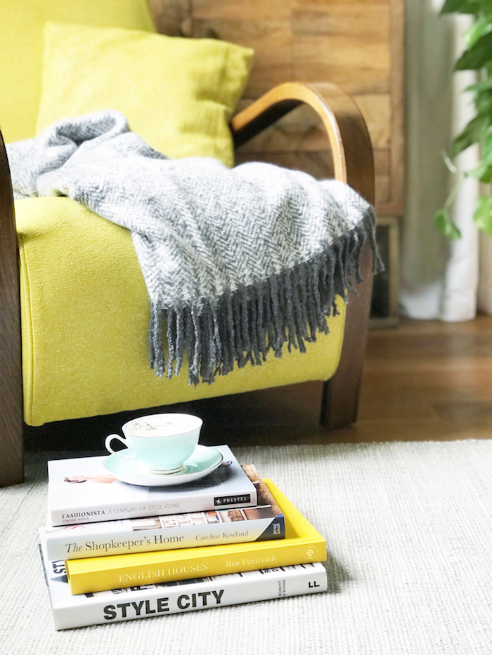 cosy armchair yellow grey room retro mid century