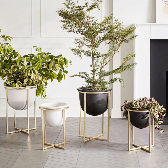 planters legs gold black cement