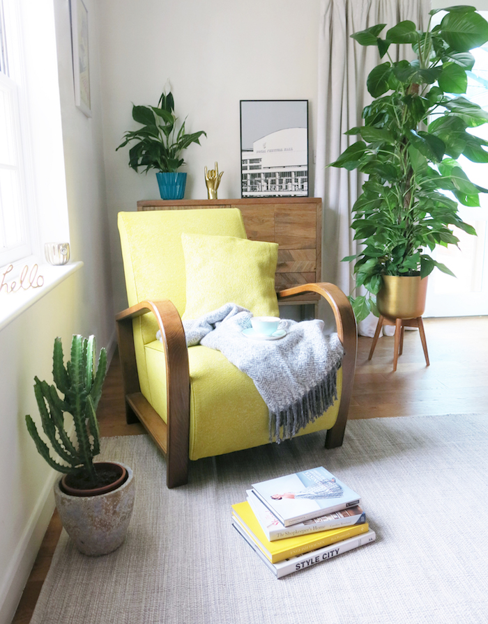 yellow chair retro 60s style home living room