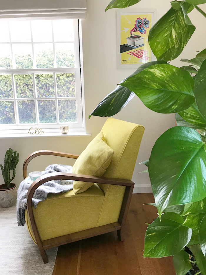 Yellow chair living room retro mid century style