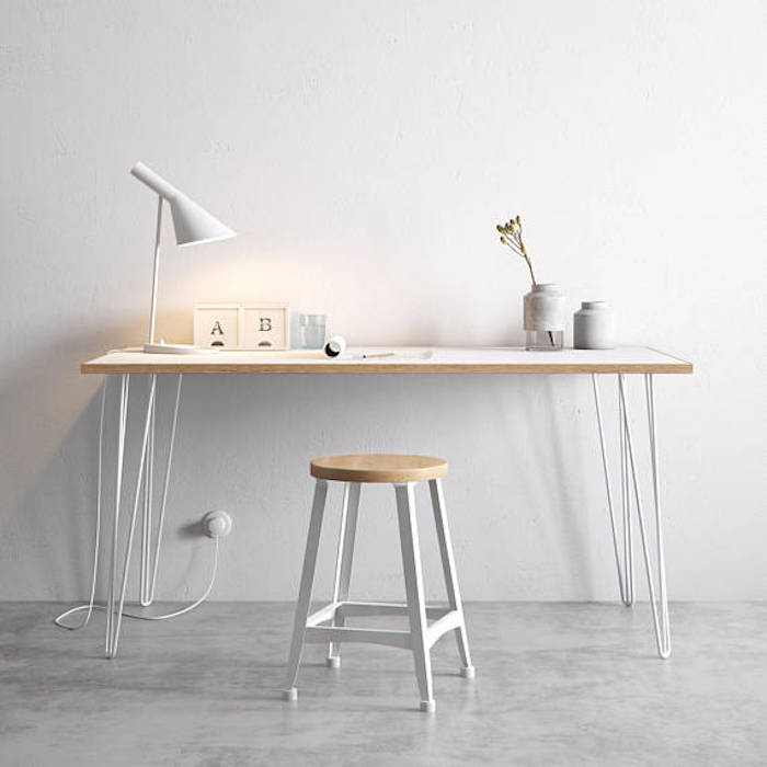 Hairpin legs desk white scandi