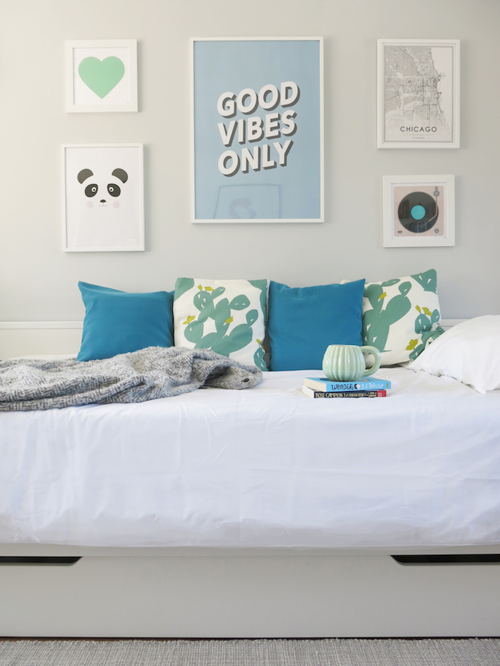 Gallery Wall Grey Room Kids Good Vibes Only Print Blue Cushions Calm Relaxing Space