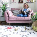 Pink velvet cuddler sofa cosy corner living room