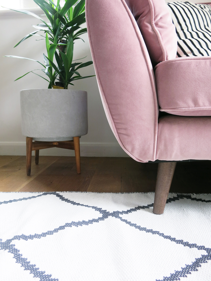 Mid Century Style Pink Sofa Retro Legs Wooden Living Room Cosy Cuddler DFS French Connection