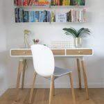Grey white scandi office chair wooden legs
