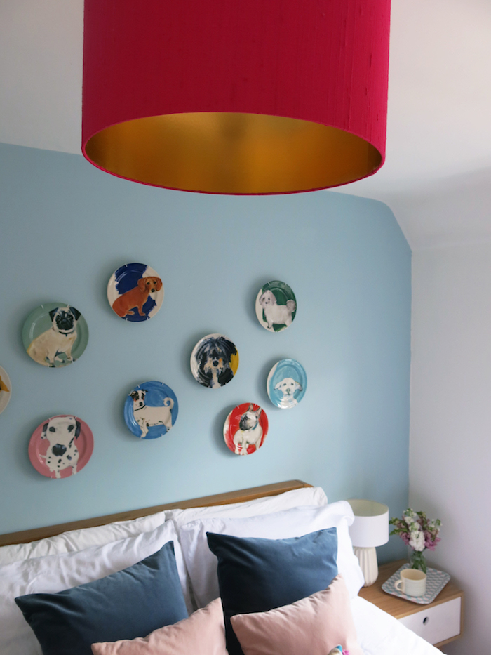 Lampshade Bright pink blue room Brighton paint