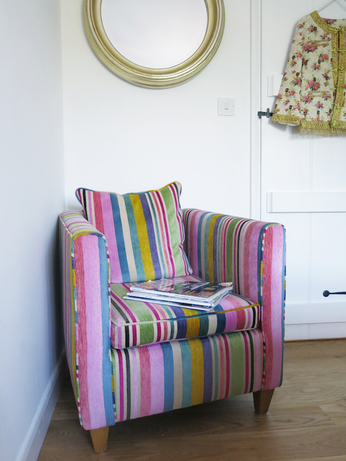 Armchair striped retro multi coloured interior home