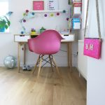 Pink Kids Room Desk Study Area Eames Chair Retro Scandi Floor