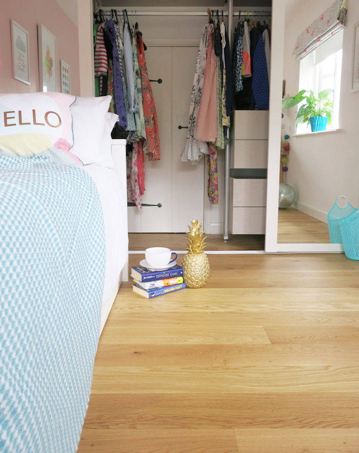 Wooden Floor Built in Wardrobe Pink Bedroom