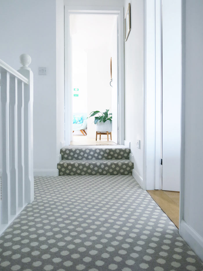 Pebble Padstow Brintons Carpet Runner Stairs Grey Polka Dot