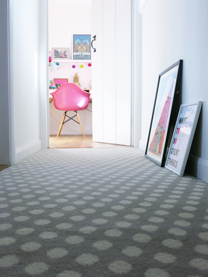 Spotty Carpet Stair Runner Grey Hallway Cosy