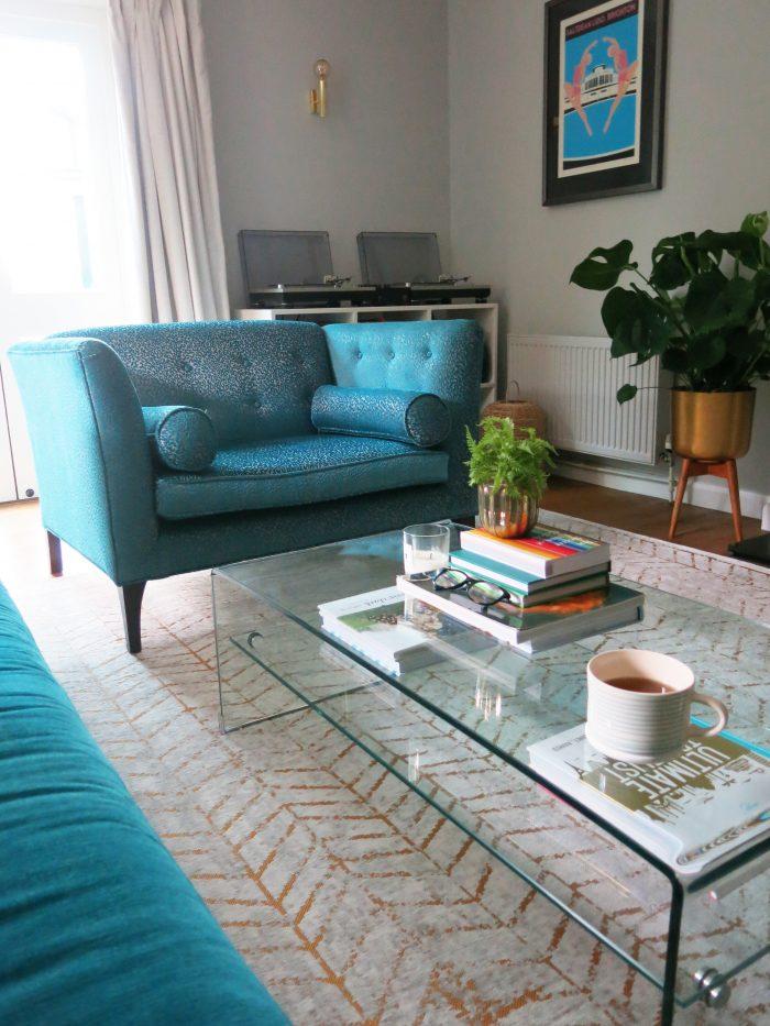 Broadwick sofa teal cheetah fabric