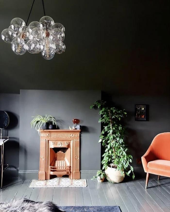 Karen Knox Interiors Black Room Orange Chair