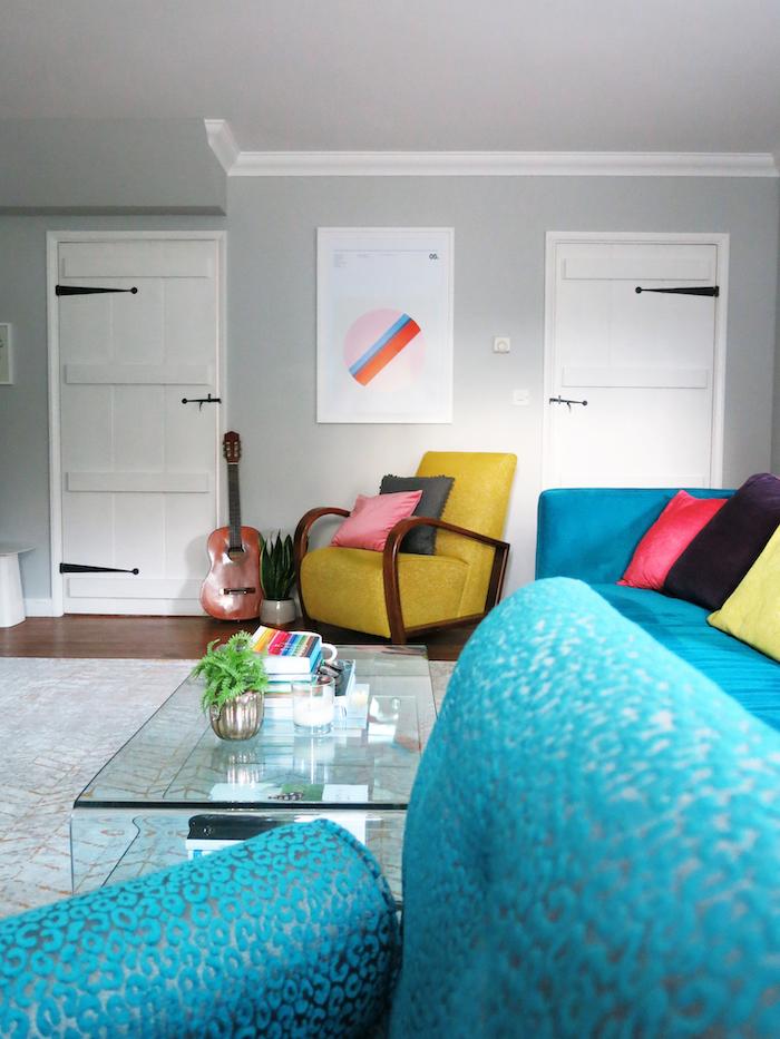 Broadwick print sofa teal