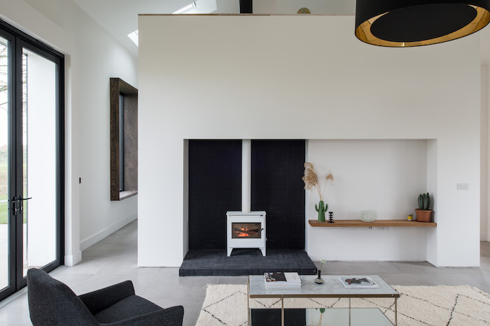 White Stove fireplace The Modern House Suffolk Home for Sale