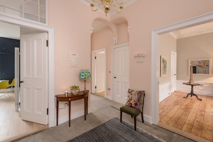 flat for sale edinburgh pink hallway