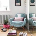 Artwork Astrology Aquarius Blue Chair retro mid century scandi home cool living area