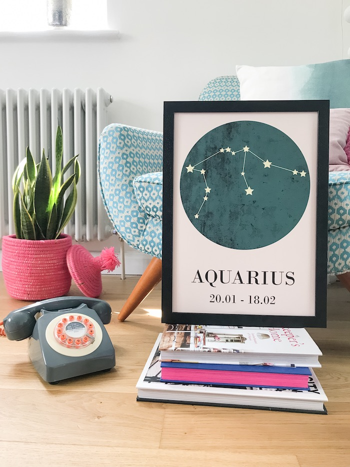 Livston Copehagen Astrology Print Aquarius Starsign Art retro phone trendy prints