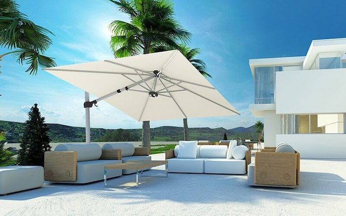Tilting parasol outdoor sunny