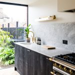 kitchen black unites gold marble contemporary devol