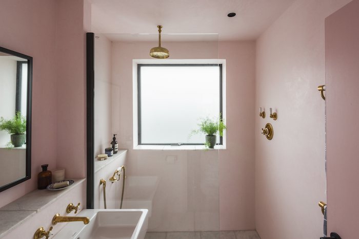pink trendy bathroom cool gold