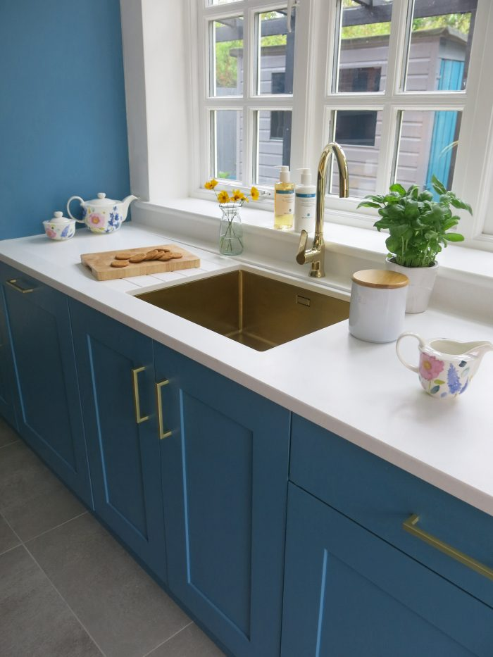 gold sink teal kitchen little greene air force blue mistral surface
