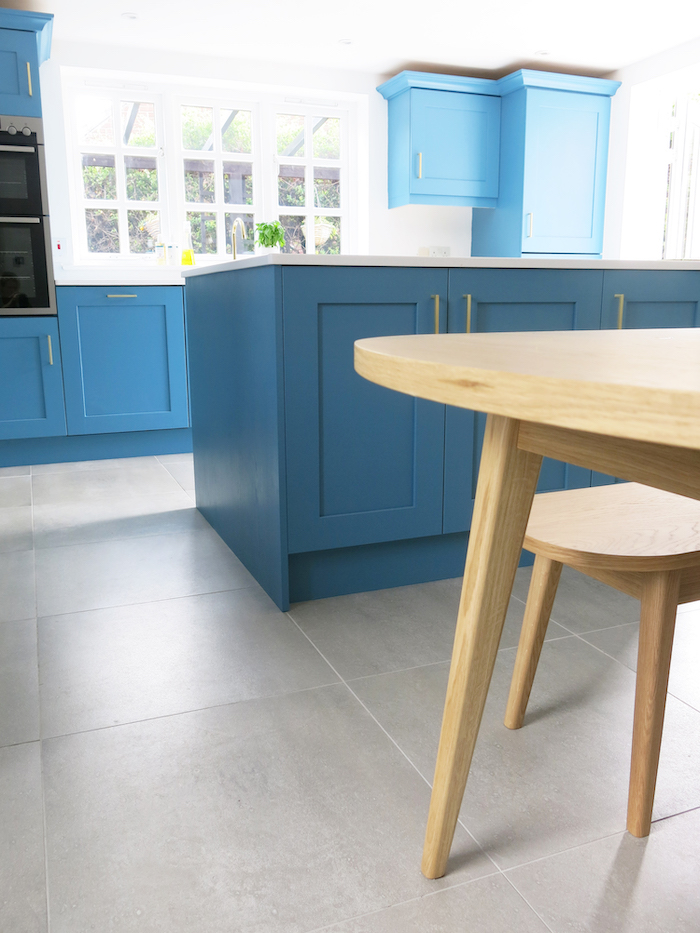 Grey large floor tiles kitchen style teal
